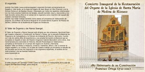 Concierto de inauguración de la restauración de órgano Igl. de Santa María, Medina de Rioseco