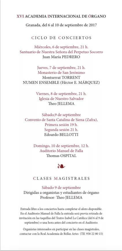 Conciertos de órgano, Granada, septiembre 2017