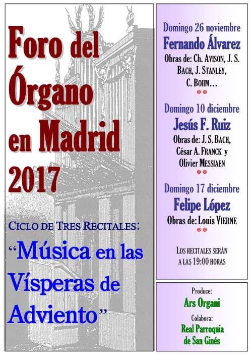 San Ginés, Madrid, Conciertos de Órgano