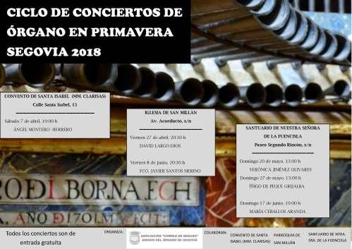 CONCIERTOS DE ÓRGANO SEGOVIA PRIMAVERA 2018