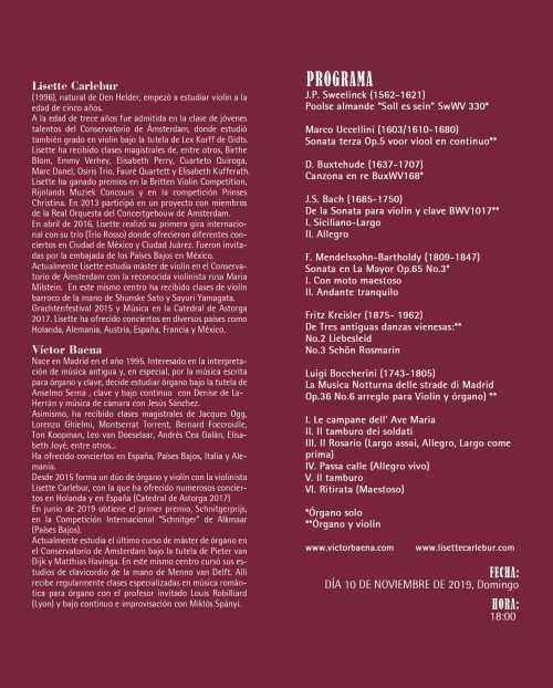 Vicálvaro Concierto de órgano y violín, domingo 10 de noviembre 2019