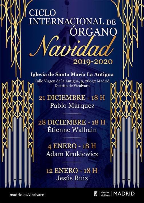 Conciertos de órgano, Vicálvaro (Madrid) Navidad 2019 - 20